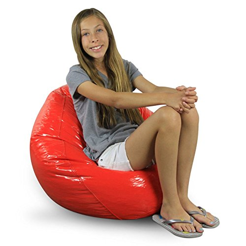 (Chair Bean Bag Round Wetlook Vinyl Junior Pure for Teen, Child,Family Room, Bedroom, Living Room (Red))