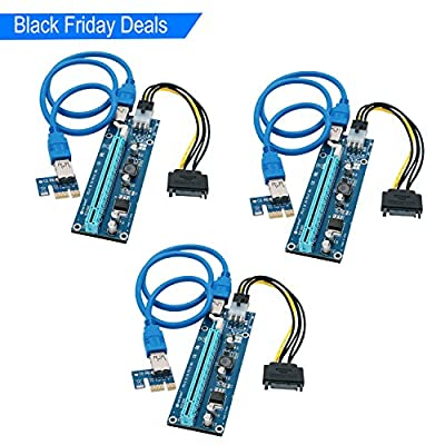 Feb Smart PCI Express Riser PCI Express Bit Coin Mining Adapter PCIe 1x to 16x Card with USB 3.0 23.6in Extension Cable and SATA to 6Pin Power Cable-Graphic Card Crypto Currency Mining(3Pack)