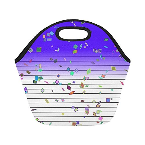 (Insulated Neoprene Lunch Bag Stationery Effect Confetti Birthday Party Colorful Large Size Reusable Thermal Thick Lunch Tote Bags For -lunch Boxes For Outdoors,work, Office, School)