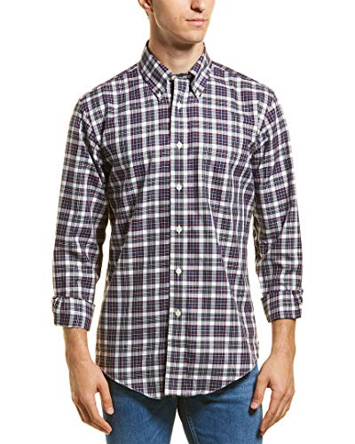 Brooks Brothers Mens Red Fleece Regent Fit Woven Shirt, XL, Blue