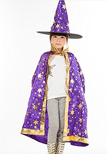 [Teddy Spirit Halloween Costumes Witch Wizard Cloak with Hat for Kids Boys Girls (Purple)] (Baby Girl Witch Halloween Costumes)