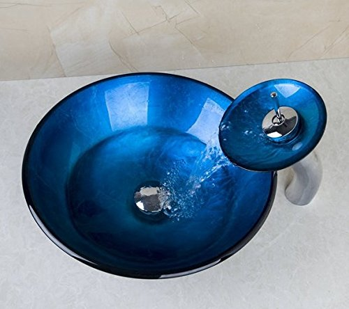 GOWE Countertop Sinks Blue Victory Round Sinks / Vessel Basins With Waterfall Faucet Bathroom Sink Set With Water Drain 1