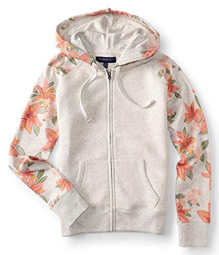 Aeropostale Women's Floral Printed Hoodie (X-Large, Cream) (Womens Cream Hoodie)