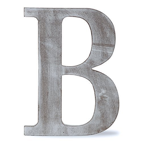 The Lucky Clover Trading B Wood Block Letter, 14' L, Charcoal Grey