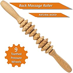 Pressure Point Muscle Roller Massage Stick - NATURAL WOOD - 9 Toothed Pressure wheels - Back Pain Relief - 13 inch