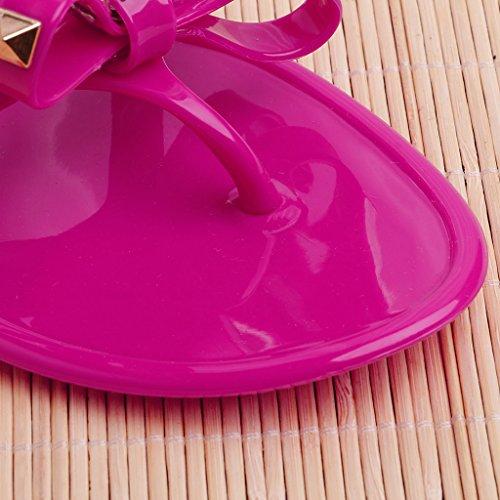 Color Mujer Perno Rojo Remache de Sandalias Clip de Chanclas Verano de Rojo 40 para Cristal Plano Rosado Rosa Jalea Cierre Rosado 39 con Rojo Lamdoo plástico apvZqwxZ