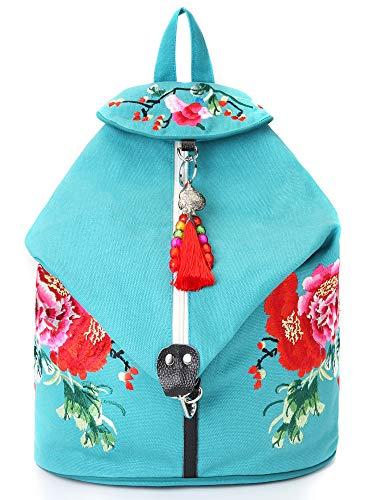 Goodhan Vintage Phoenix Sequins Embroideried Women Backpack Daypack Travel Shoulder Bag (Blue)