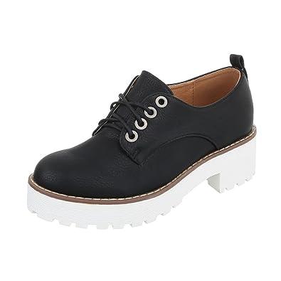 Ital-Design Schnürer Damen-Schuhe Oxford Blockabsatz Schnürer Schnürsenkel  Halbschuhe Schwarz, Gr 36