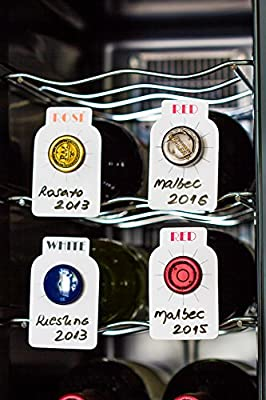 120 Dual labeled erasable Wine cellar tags ID (100 Red/White + 20 Rose/Rose) for wine bottles identification