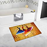 InterestPrint Oil Painting View Spanish Dance Bedroom Living Room Bath Mat Non Slip 32 L X 20 W Inches