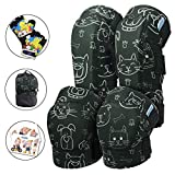 Innovative Soft Kids Knee and Elbow Pads with Bike Gloves | Toddler Protective Gear Set w/Mesh Bag | Roller-Skating, Skateboard, Bike for Children Boys Girls (Dogs & Cats, Large (8-11 years))