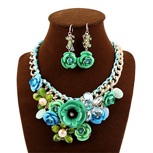Kexuan Luxury Fanshion Jewelry Sets With Statement Necklace And Earings (Green) - Green Necklace Set For Women
