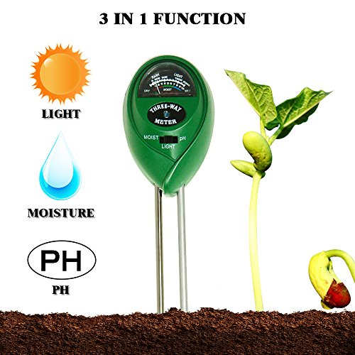Kit Meter Hour (Daugee Soil PH Meter, 3-in-1 Moisture Sensor Meter/Sunlight/PH Plant Soil Tester Kits Function for Home and Garden, Plants, Farm, Indoor Outdoor Use, Green (No Battery needed))