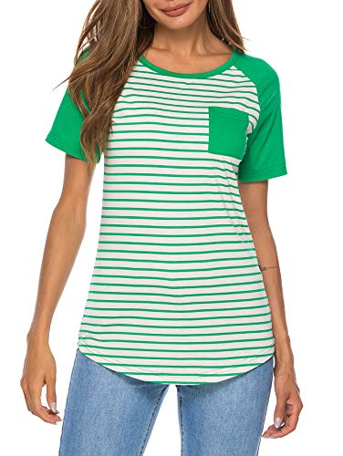 (WOAIVOOU Women Casual Striped Raglan Sleeves Screw Neck Baseball Tee T Shirt Plus Size(Green,XL))