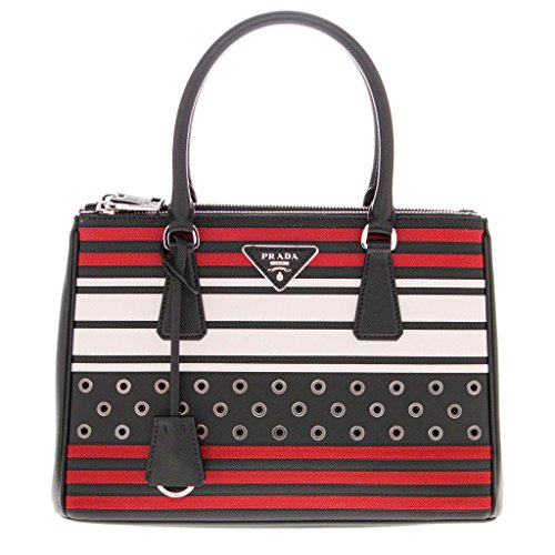 Prada-Womens-Double-Zip-Saffiano-Grommets-Tote-Black-Red-White