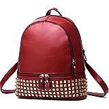 CherryGoddy-A The New Rivet Shoulder Bag zipper Bag Travel Bag Schoolbag(Red)