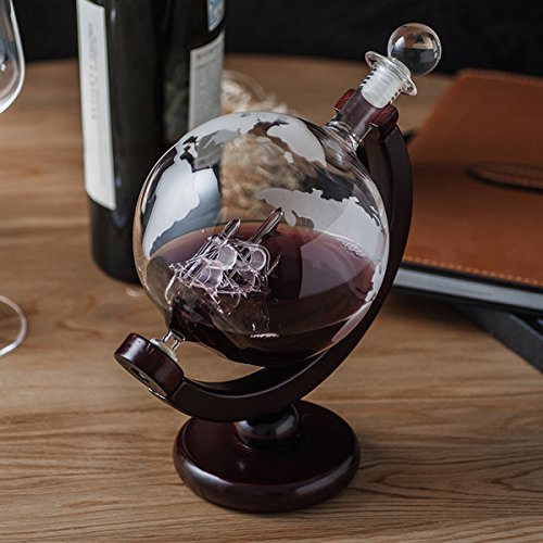 ZARIFINTERNATIONAL 850ml Global Wine Whiskey Decanter with Antique Ship inside and Wooden Stand by ZARIFINTERNATIONAL (Image #3)