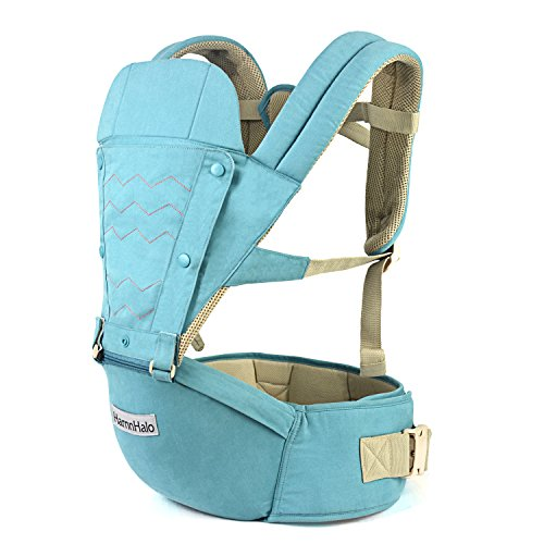 HarnnHalo 6 in 1 Baby Carrier with Hip Seat, Turquoise, 3-36 months 7.7 lbs 3.5 kg-44 lbs 20 kg
