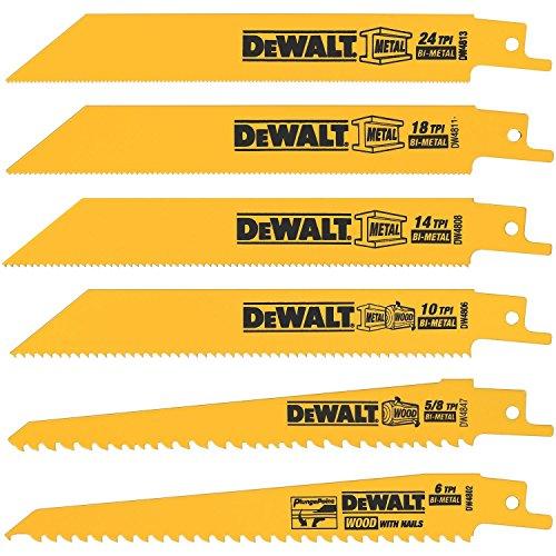 DW4856 Metal/Woodcutting Reciprocating Saw Blade Set, 6-Piece