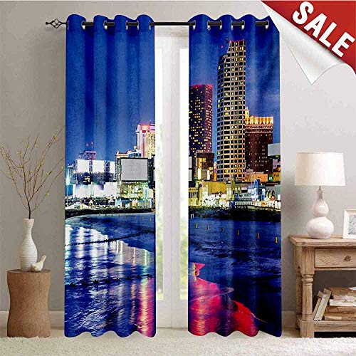 Hengshu City Room Darkening Wide Curtains Resort Casinos on Shore at Night Atlantic City New Jersey United States Waterproof Window Curtain W84 x L84 Inch Violet Blue Pink Yellow (Soho New Jersey)