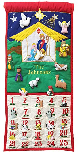 Pockets of Learning Personalized Traditional Nativity Advent Calendar, Holiday Décor, Crèche Manger Scene, Christmas Fabric Wall Hanging, Seasonal Cloth Countdown]()