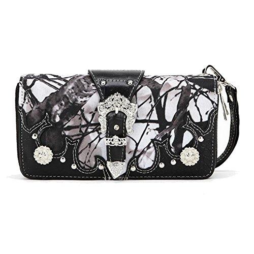 Blancho Ropa de cama Mujer [Ramos] Bolsa de hombro de cuero PU bolso elegante Wallet-black