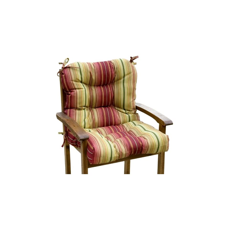 Greendale Home Fashions Indoor/Outdoor Seat/Back Chair Cushion, Kinnabari Stripe