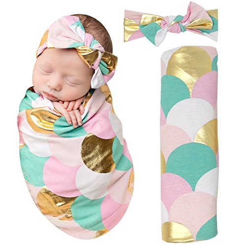 PoshPeanut Mermaid Baby Swaddle Blanket - Large Premium Knit Baby Swaddling Receiving Blanket And Headband Set, Baby Shower Newborn Gift (Gold Scales)