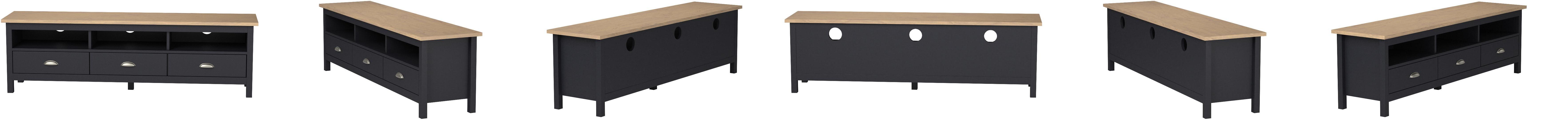 vs venta stock meuble tv bora bora 3 tiroirs fabrique en bois de pin massif gris anthracite 158 cm