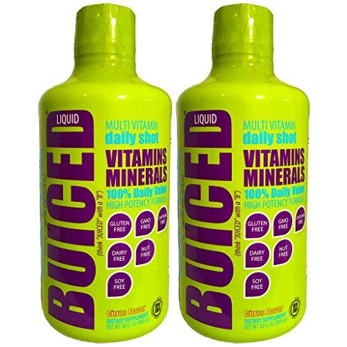BUICED Liquid Multivitamin, 2-Pack. Gluten Free, GMO Free, Allergen Free, BPA Free.