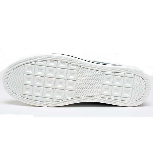 CHAMARIPA Canvas Scarpe da Ginnastica con Rialzo Sneaker a Collo Alto Uomo Fino a 6 cm - H52C08K011D (39EU, Nero(Boat))