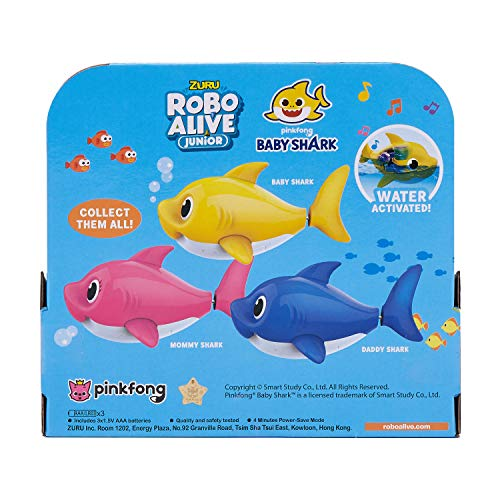 51sv6Q0m 4L - Robo Alive Junior Baby Shark Battery-Powered Sing and Swim Bath Toy by ZURU - Baby Shark (Yellow) (Color may vary)