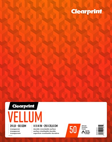 Clearprint Vellum Pad, 24 LB, 90 GSM, 11 x 14 Inches, 50 Sheets Per Pad, 1 Each (26321501311) 24 Lb Translucent Vellum Paper