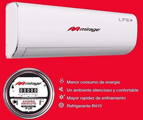 Minisplit Aire Acondicionado Mirage Life+ Frio y Calor 110v 1ton, R410a, 12,000 btus