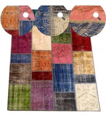 Rechteckiger Teppich Mehrfarbig Weise Patchwork handgewebt,