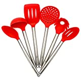 AMRON817 - RED Kitchen Utensil Set - Cooking Utensils - FDA Certified - Premium Quality - 6 Piece Set - RED Silicone and Stainless Steel
