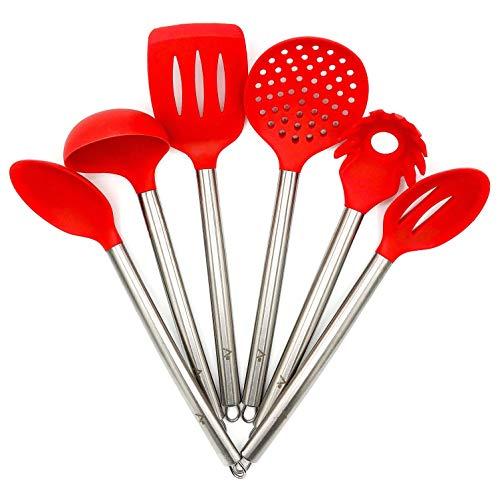 AMRON817 - RED Kitchen Utensil Set - Cooking Utensils - FDA Certified - Premium Quality - 6 Piece Set - RED Silicone and Stainless Steel by AMRON817