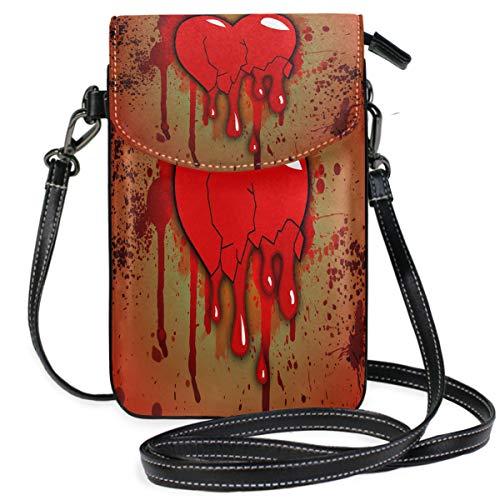 Bloody Heart Small Crossbody Bag Cell Phone Purse Womens Cute Leater Handbag ()