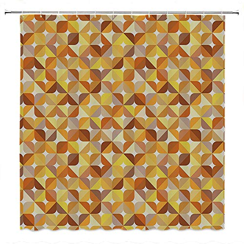 SATVSHOP European-Style-Bathroom-Decoration-Durable-Waterproof-Fabric-Modern-Sunbeams-Like-Geometric-Circl-ounds-with-Abstract-Art-Marigold-Yellow-and-Light-Brown.W66-x-L72-inch