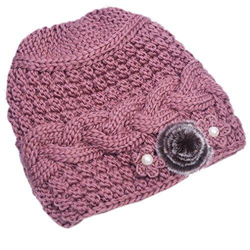 Flower Beanie Knit (THENICE Women's Mother elderly Winter Skull Cap Fur Flowers velvet Knit Hat (Pink))