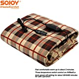 """Sojoy 12V Heated Smart Multifunctional Travel Electric Blanket for Car, Truck, Boats or RV with High/Low Temp Control (60""""x 40"""") (Checkered Cream & Tan)"""