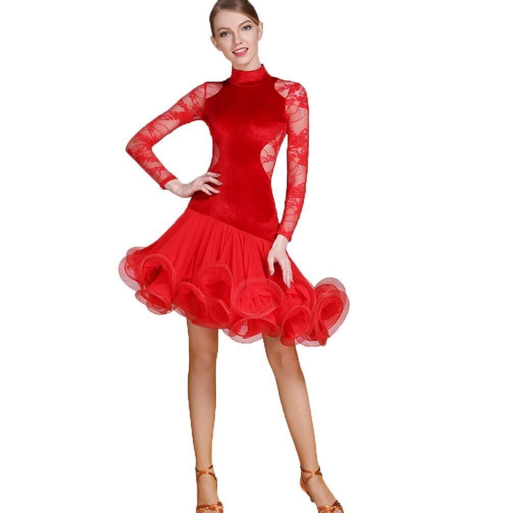 rouge XL Générique Robe De Danse Latine for Femmes Danse Moderne à Manches Longues, Velours Chaud, Robe De Test De Danse Latine Jupe Art