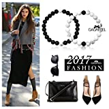 Gagafeel Long Distance Relationship Bracelets His and Hers Black Matte Agate & White Howlite 8mm Beads Couple Friendship Bracelet