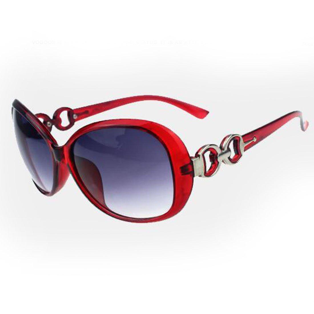 Fashion?Life Women Shades Oversized Eyewear Classic Designer Sunglasses UV400-Red&Grey