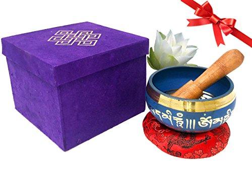 Flower Red Prayer Bowl (Tibetan Singing Bowl Set- Auspicious Buddhist Symbols Printed 4