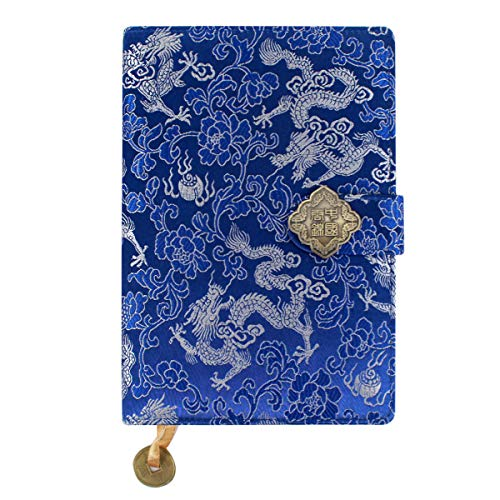 - Kennedy Exquisite Notebook Chinese Yun Brocade Notebook Silk Hardcover Diary Journal Sketchbook Travel and Thought Blank Book-Silver Dragon