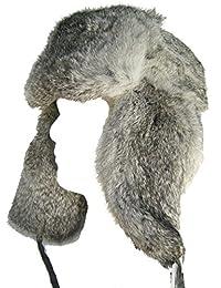 Klondike Sterling Russian Rabbit Fur Trooper Hat Ear Flaps Grey 9H6621 Trapper