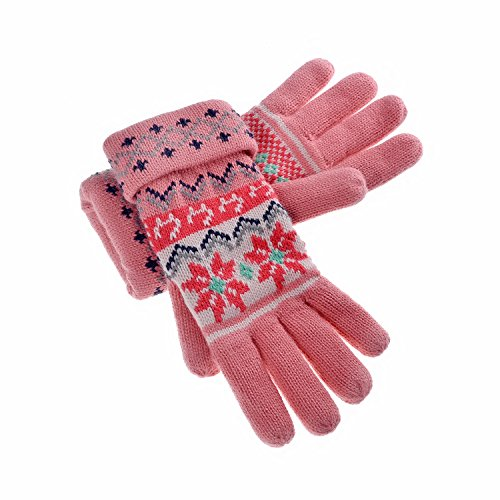 YAN & LEI Women's Snowflakes and Cats Knitted Winter Gloves with Roll Up Cuffs Design Color Pink (Snowflake Cat)