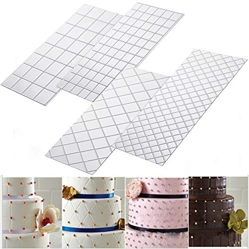 Hot Sale!DEESEE(TM)4pcs Grid Transparent Stencil Texture Mat Cake Border Decorating Tool Cake Mold (A) -