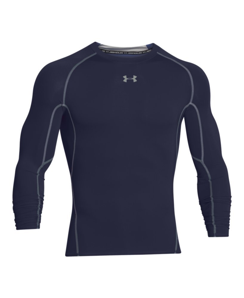 Under Armour Men's HeatGear Long Sleeve Compression Shirt, Midnight Navy (410)/Steel Small by Under Armour (Image #4)